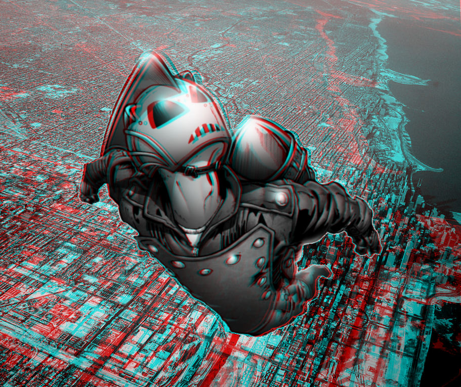 The rocketeer over chicago