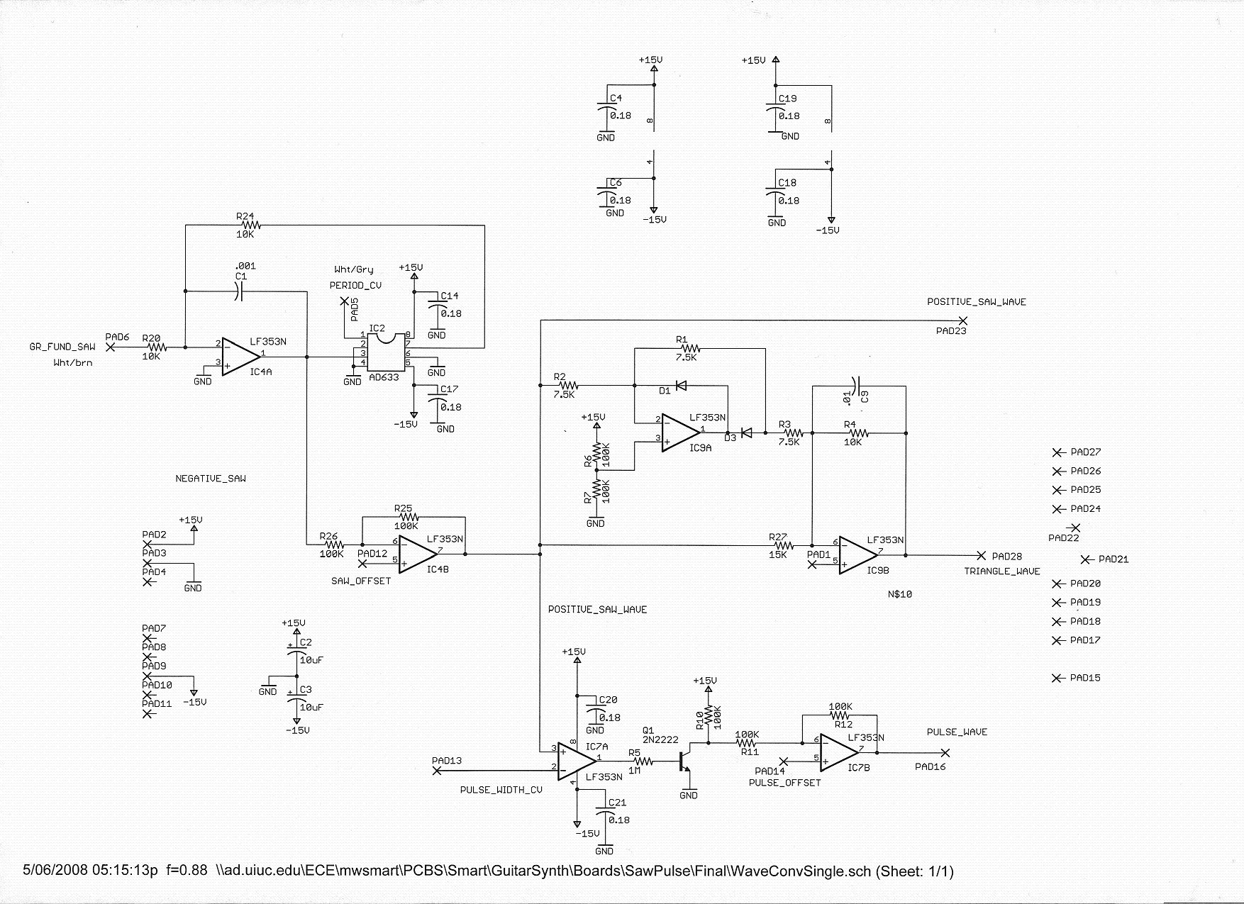 An Analog Guitar Synthesizer Based Around The Roland Gr 300 Envelope Follower Schematic Circuit Has Three Parts Each Part Offset Adjustment So Waveform Can Be Set To Oscillate 75 Volts Facilitating Later